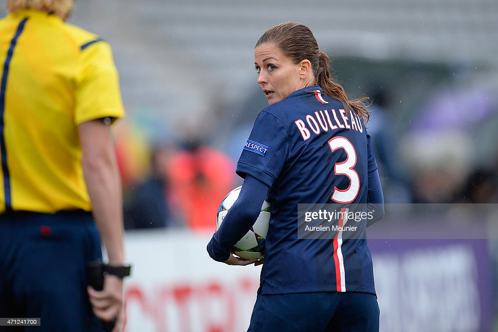 <a gi-track='captionPersonalityLinkClicked' href=/galleries/search?phrase=Laure+Boulleau&family=editorial&specificpeople=7890874 ng-click='$event.stopPropagation()'>Laure Boulleau</a> of PSG reacts during the UEFA Womens Champions League Semifinal game between Paris Saint Germain and VfL Wolfsburg at Stade Charlety on April 26, 2015 in Paris, France.