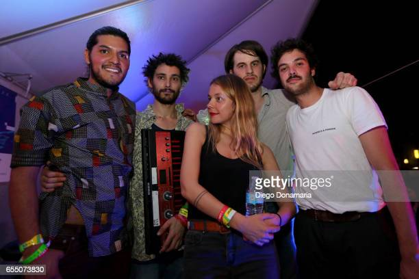 Laure Briard and band pose for a photo onstage at Burgermania during 2017 SXSW Conference and Festivals at Hotel Vegas at Volstead on March 18 2017...