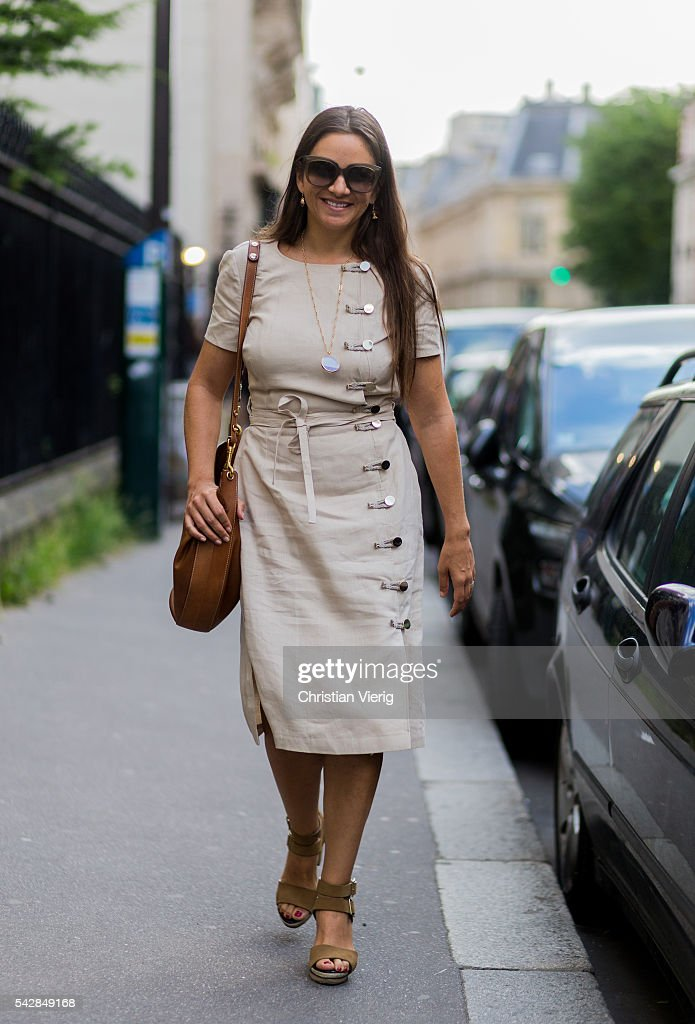 Laure Heriard Dubreuil outside Givenchy during the Paris Fashion Week Menswear Spring/Summer 2017 on June 24, 2016 in Paris, France.
