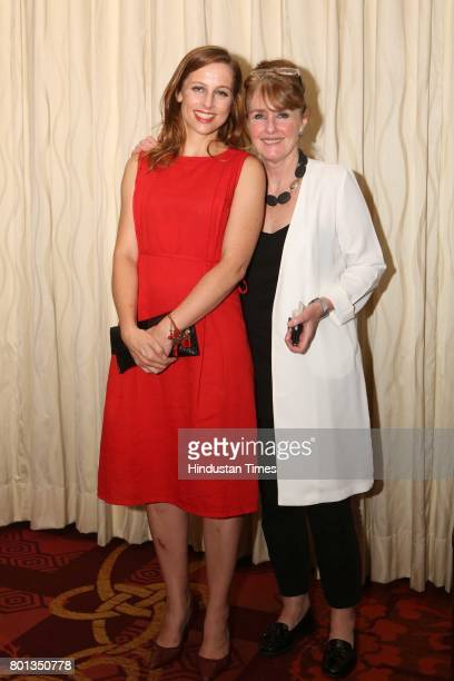 Laure Huberty and Mabet Van Rensburg during the Luxembourg National Day celebration at Taj Mahal Hotel on June 23 2017 in New Delhi India The...