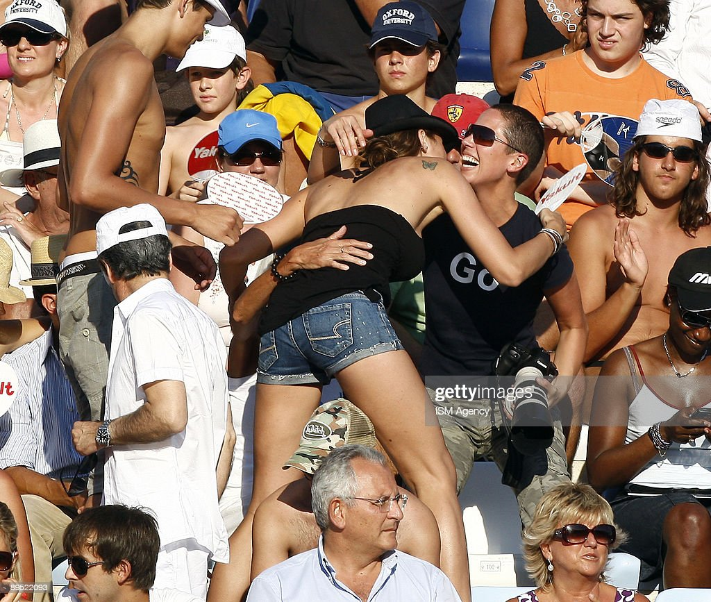 Laure Manadou of France is seen in the stands during the 13th FINA World Championships at the Stadio del Nuoto on July 30 2009 in Rome Italy