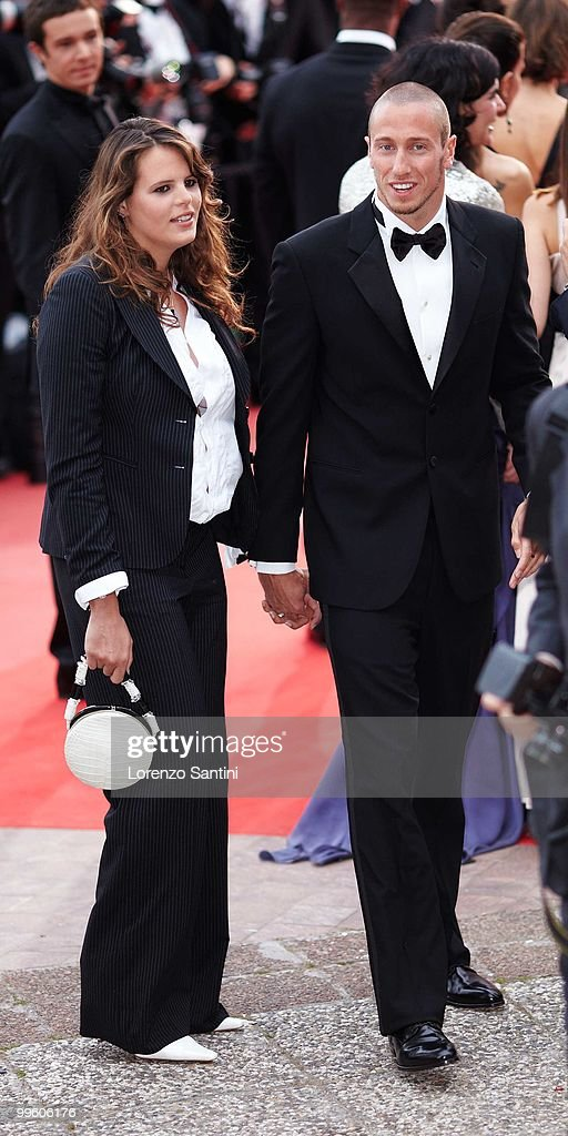 Laure Manaudou and Frederick Bousquet depart the 'The Princess of Montpensier' Premiere held at the Palais des Festivals of Cannes on May 16 2010 in...