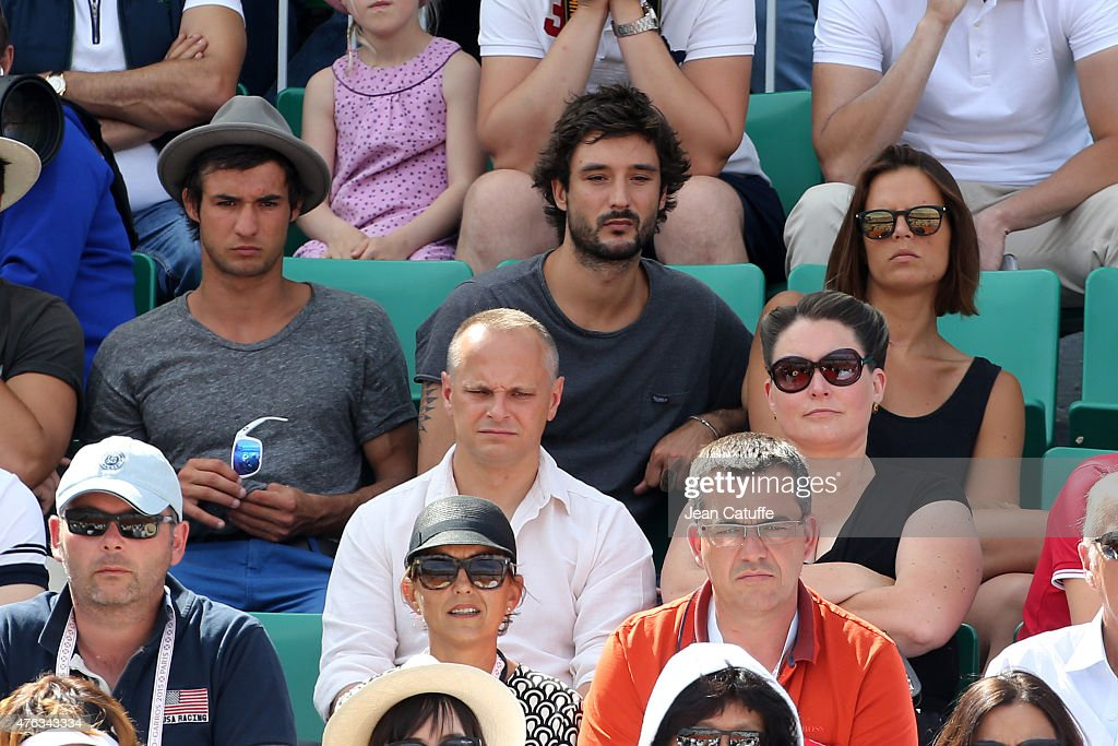 Laure Manaudou and her boyfriend Jeremy Frerot of Frero Delavega attend the men's final on day 15 of the French Open 2015 at Roland Garros stadium on...