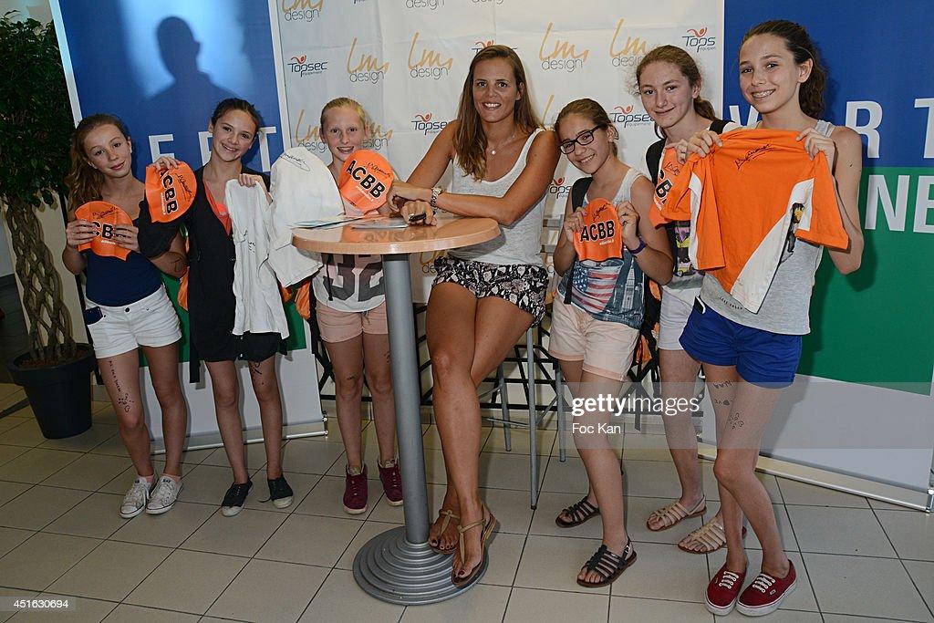 Laure Manaudou attends The 'Laure Manaudou Design' Swimming Suit show at Piscine Billancourt on July 2 2014 in Paris France