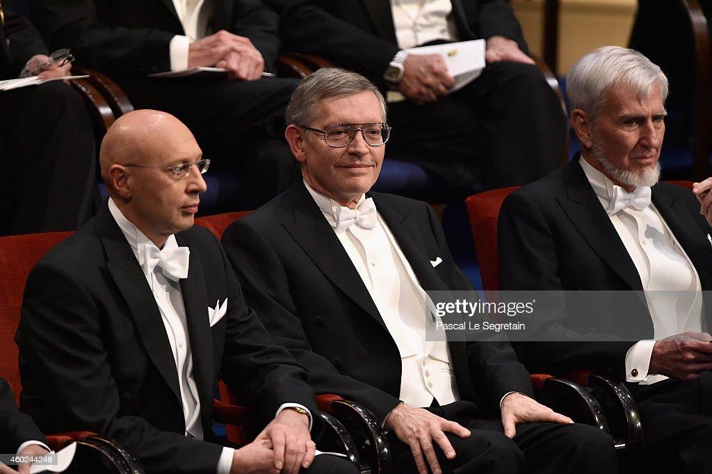 2014 Laureates Professor Stefan W. Hell, Professor William E. Moerner and Professor John O'Keefe seen on stage at the Nobel Prize Awards Ceremony at Concert Hall on December 10, 2014 in Stockholm, Sweden.