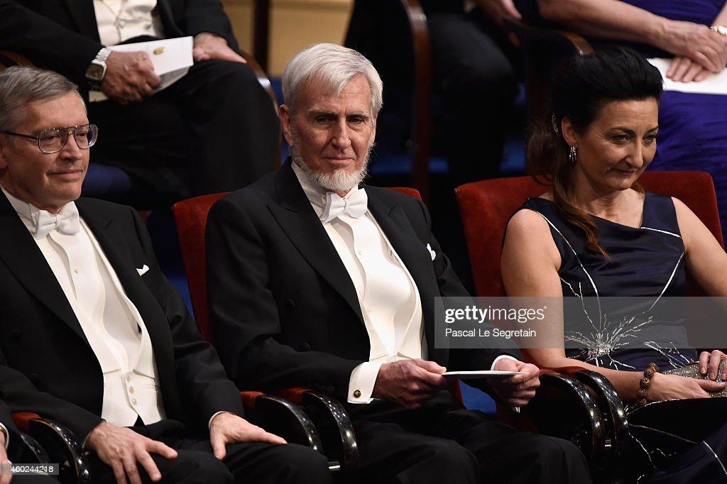 2014 Laureates Professor William E. Moerner, Professor John O'Keefe and Professor May-Britt Moser seen on stage at the Nobel Prize Awards Ceremony at Concert Hall on December 10, 2014 in Stockholm, Sweden.