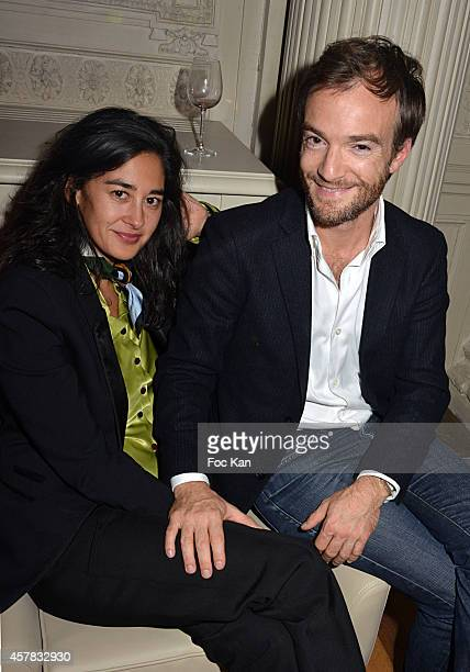 Laureen Arch and Jonathan Lambert attend the 'Bal Jaune' Dinner Party hosted by Fondation Ricard at the Hotel Salomon de Rothschild on October 24...