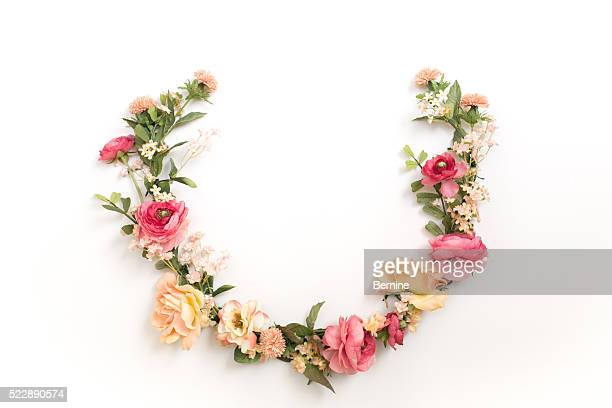 A Laurel Floral Wreath on White Background