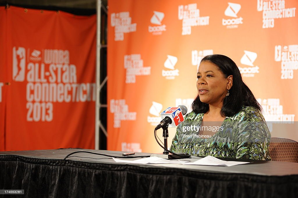 Laurel J. Richie, president of the Women's National Basketball Association, speaks to the media before the 2013 Boost Mobile WNBA All-Star Game on July 27, 2013 at Mohegan Sun Arena in Uncasville, Connecticut.