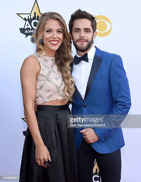 Lauren Akins and recording artist Thomas Rhett attend the 50th Academy of Country Music Awards at ATT Stadium on April 19 2015 in Arlington Texas