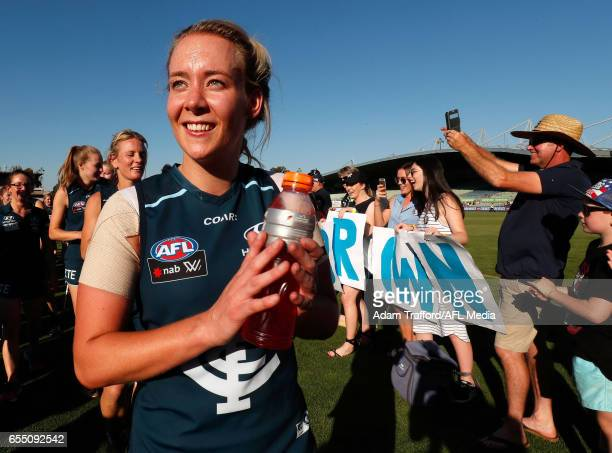 Lauren Arnell of the Blues thanks fans during the 2017 AFLW Round 07 match between the Carlton Blues and the Brisbane Lions at Ikon Park on March 19...