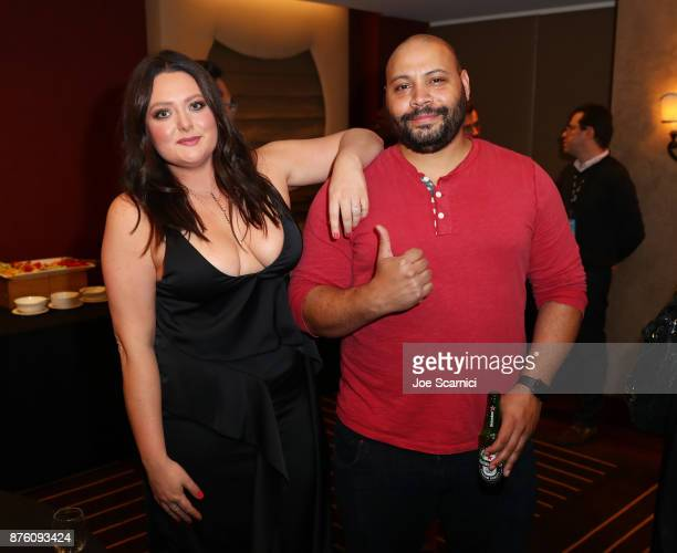 Lauren Ash and Colton Dunn pose in the green room during Vulture Festival LA Presented by ATT at Hollywood Roosevelt Hotel on November 18 2017 in...
