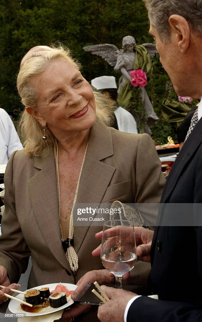 Lauren Bacall dines on sushi during the reception after the ceremonyAnne and Kirk Douglas celebrated their 50th wedding anniversary with a remarriage...