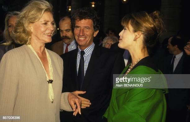 Lauren Bacall Jack Lang et Sophie Marceau a la Fete du cinema a Paris le 27 juin 1991 a Paris France