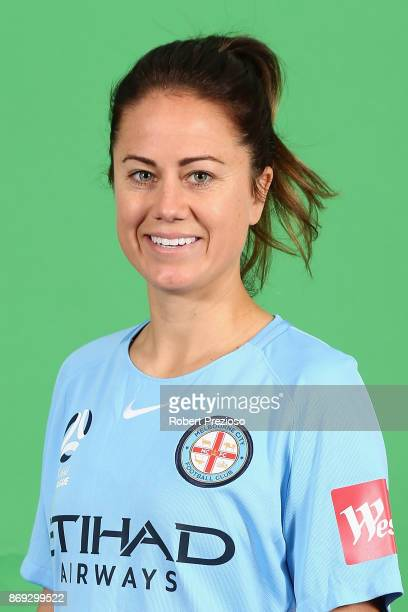 Lauren Barnes poses during the Melbourne City WLeague headshots session on November 2 2017 in Melbourne Australia