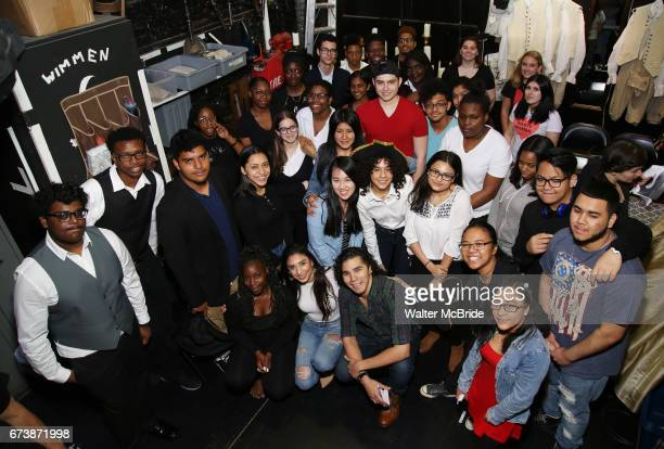 Lauren Boyd and Anthony Lee Medina with student performers attend The Rockefeller Foundation and The Gilder Lehrman Institute of American History...