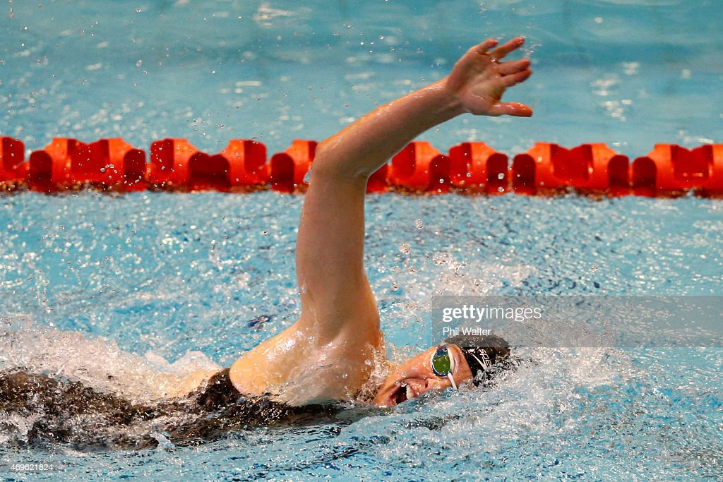 Lauren Boyle competes in the Womens 400m freestyle during the New Zealand Swimming Championships at West Wave Waitakere on April 14 2015 in Auckland...
