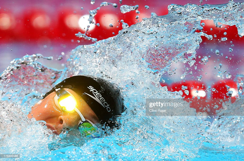 Lauren Boyle of New Zealand competes during the Swimming Women's 800m Freestyle preliminaries heat two on day fourteen of the 15th FINA World...