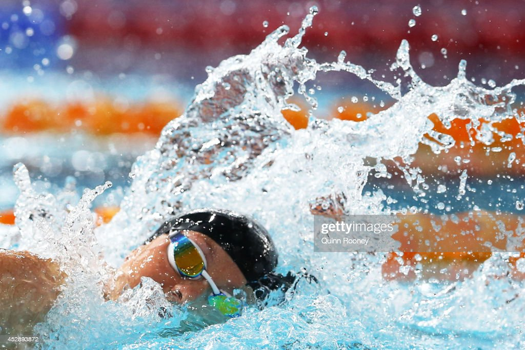 Lauren Boyle of New Zealand competes on the way to winning the gold medal in the Women's 400m Freestyle Final at Tollcross International Swimming...