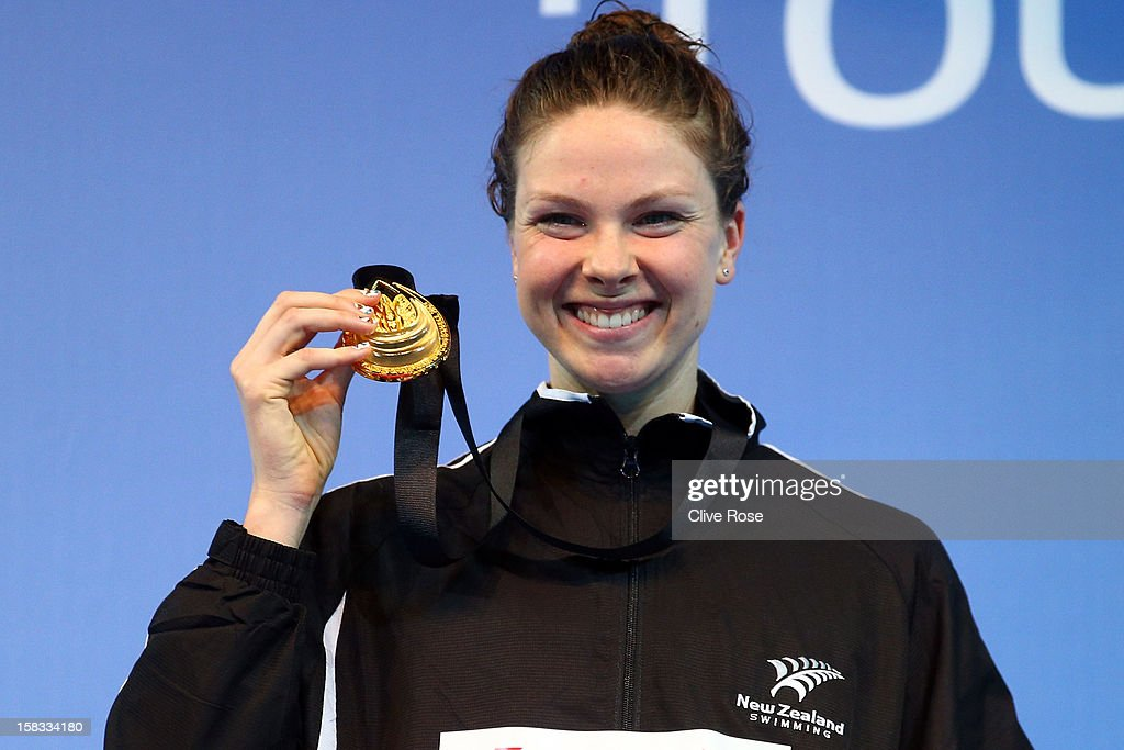 Lauren Boyle of New Zealand poses with her Gold medal after winning the Women's 800m Final during day two of the 11th FINA Short Course World...