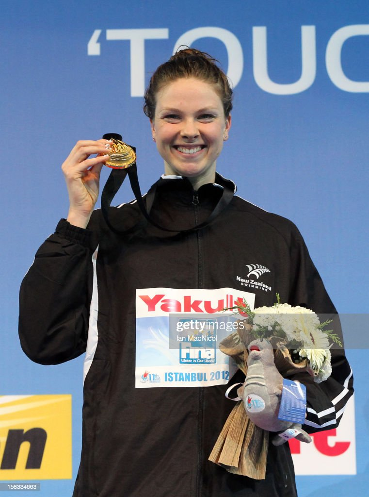 Lauren Boyle of New Zealand poses with her Gold medal from the Women's 800m Freestyle during day two of the FINA World Short Course Swimming Championships on December 13, 2012 in Istanbul, Turkey.