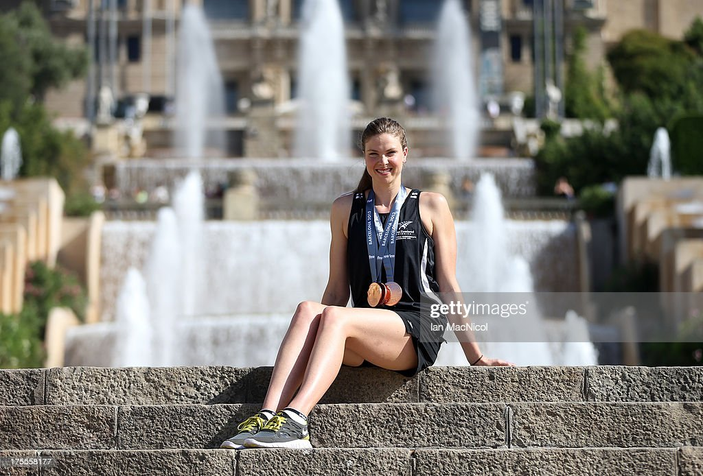 Lauren Boyle of New Zealand poses with her three Bronze medals from the 400m 800m and 1500m Freestyle in front of The MNAC on day sixteen of the 15th...