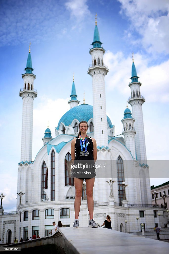 Lauren Boyle of New Zealand poses with her two silver medals in front of the Kul Sharif Mosque within the Kazan Kremlin during day Sixteen of The...