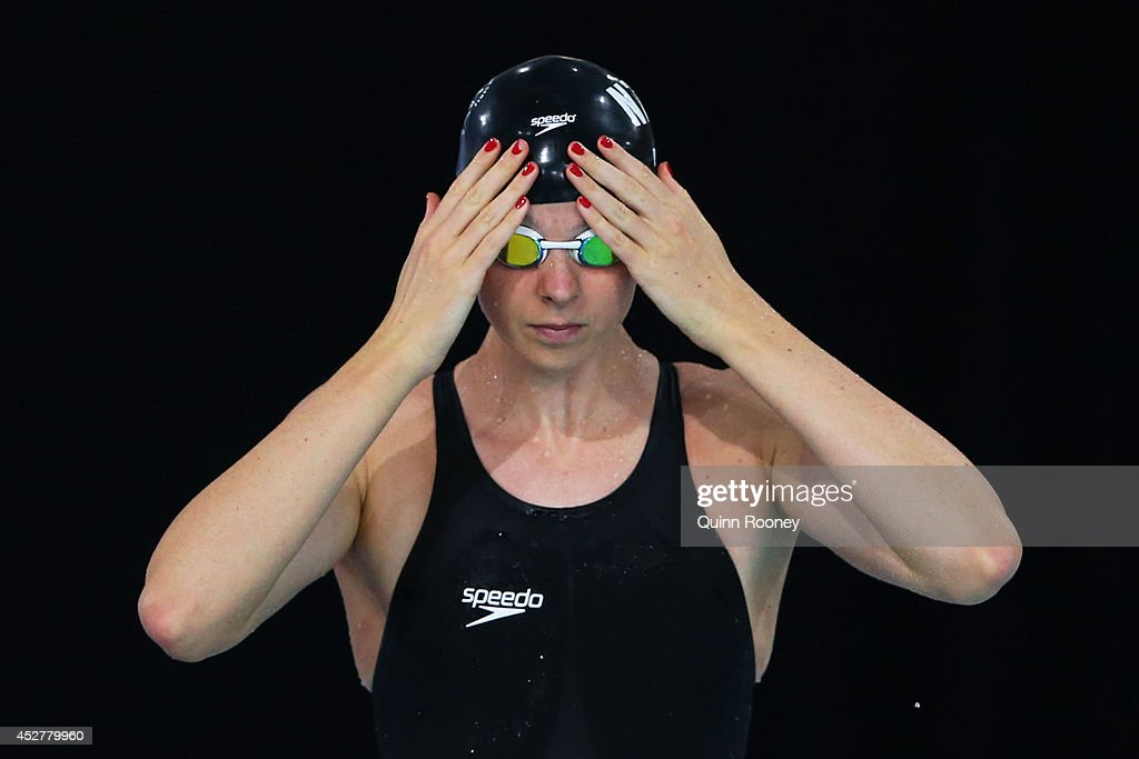 Lauren Boyle of New Zealand prepares for the Women's 800m Freestyle Heat 2 at Tollcross International Swimming Centre during day four of the Glasgow...