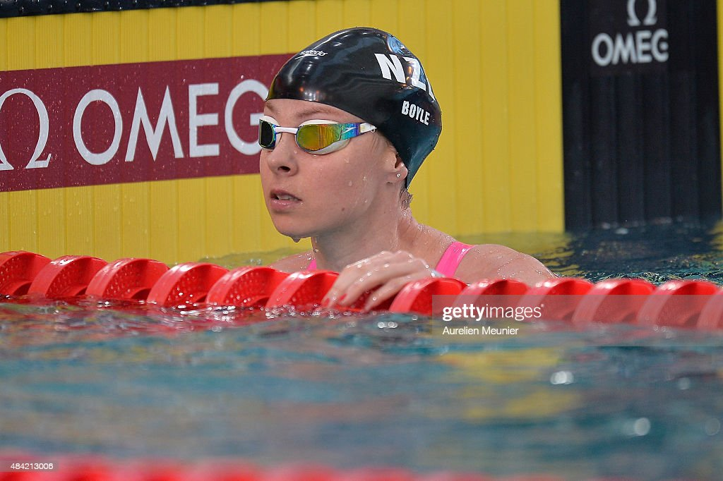 Lauren Boyle of New Zealand reacts after the 400m Women's Freestyle race on day two of the FINA Swimming World Cup 2015 on August 16 2015 in Chartres...