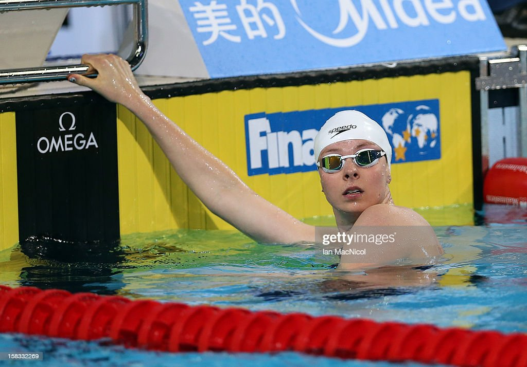 Lauren Boyle of New Zealand reacts after winning the Women's 800m Freestyle Final during day two of the FINA World Short Course Swimming Championships on December 13, 2012 in Istanbul, Turkey.