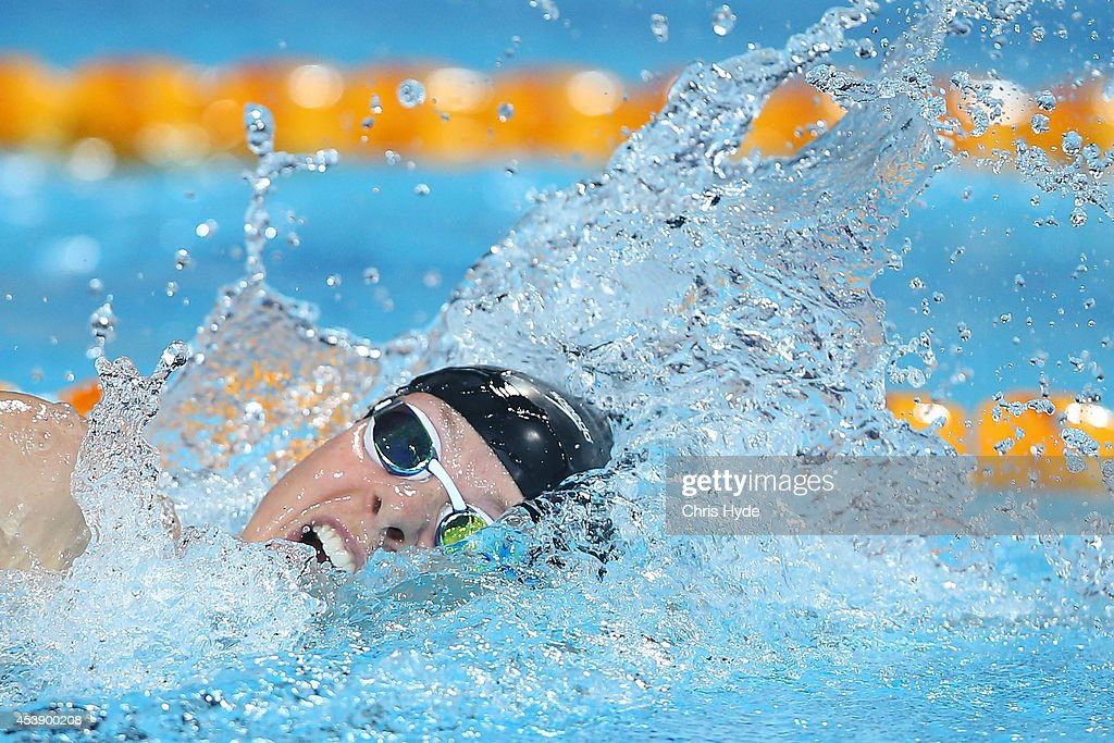 Lauren Boyle of New Zealand swims the Women's 800m Freestyle final during day one of the 2014 Pan Pacific Championships at Gold Coast Aquatics on...
