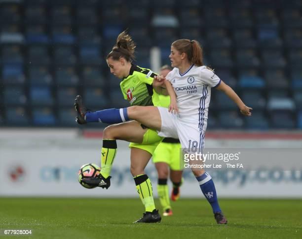 Lauren Bruton of Reading battles with Maren Mjelde of Chelsea during the FA WSL 1 match between Reading Ladies FC and Chelsea Ladies FC at Adams Park...