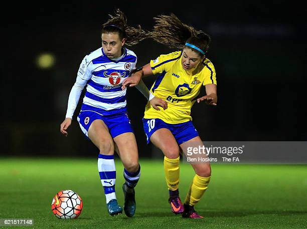 Lauren Bruton of Reading holds off pressure from Carla Humphrey of Doncaster during the WSL match between Reading FC Women and Doncaster Rovers...
