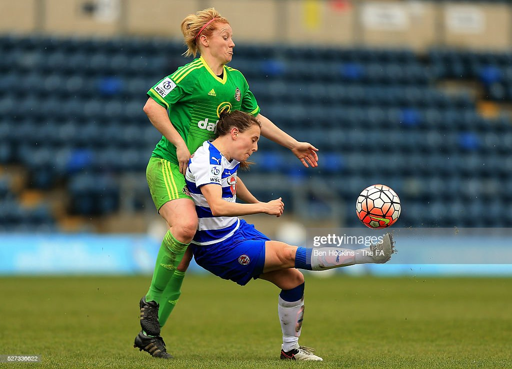 Lauren Bruton of Reading holds off pressure from Rachel Furness of Sunderland during the WSL 1 match between Reading FC Women and Sunderland AFC Ladies on May 2, 2016 in High Wycombe, England.