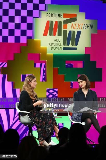 Lauren Bush Lauren and Beth Kowitt speak onstage during the Fortune Most Powerful Women Next Gen conference at Monarch Beach Resort on November 14...