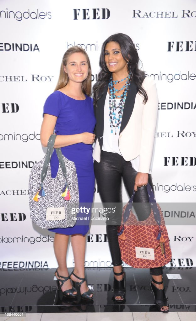 Lauren Bush Lauren and Rachel Roy pose for a photo as Roy debuts FEED India Collaboration with Lauren at Bloomingdale's 59th Street Store on May 9, 2013 in New York City.