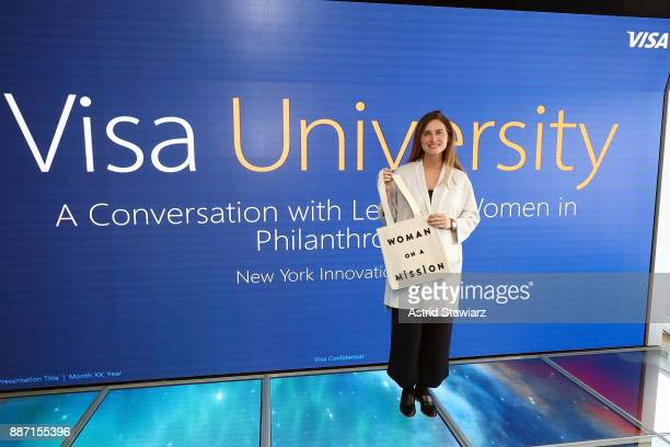 Lauren Bush Lauren CEO and Founder of FEED Projects participates in the Visa University A Conversation with Leading Women in Philanthropy panel at...