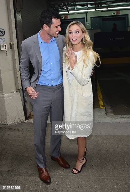 Lauren Bushnell and Ben Higgins are seen coming of HuffPost Live on March 15 2016 in New York City
