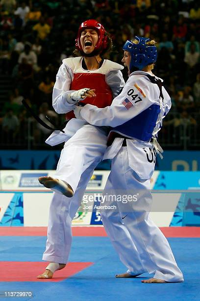 Lauren Cahoon of the US in action against Natalia Silva of Brazil in the women's 67 kg class during the 2007 XV Pan American Games on July 17 2007 at...