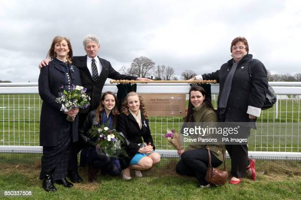 Lauren Caisley and others during the unveiling of a plaque for suffragette Emily Davison at Tattenham Corner at Epsom Downs Racecourse