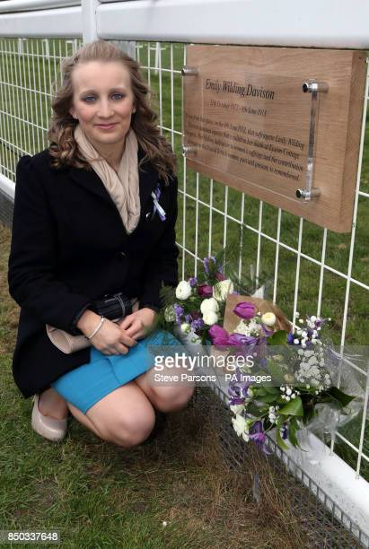 Lauren Caisley unveils a Plaque for suffragette Emily Davison at Tattenham Corner at Epsom Downs Racecourse