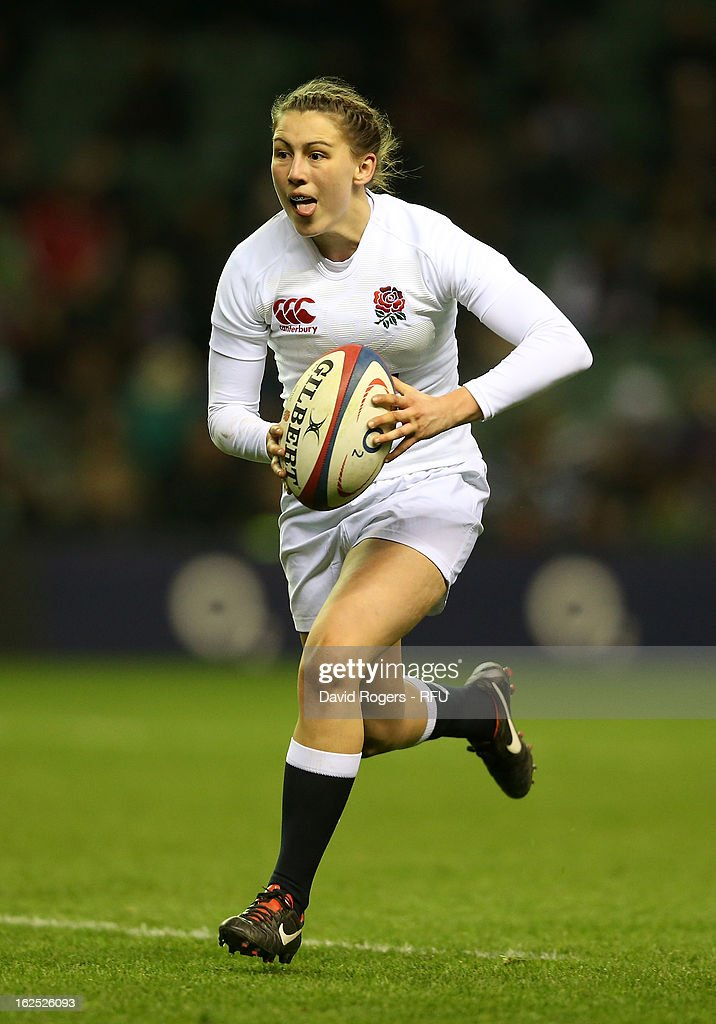 Lauren Cattell of England in action during the Women's RBS Six Nations match between England and France at Twickenham Stadium on February 23, 2013 in London, England.