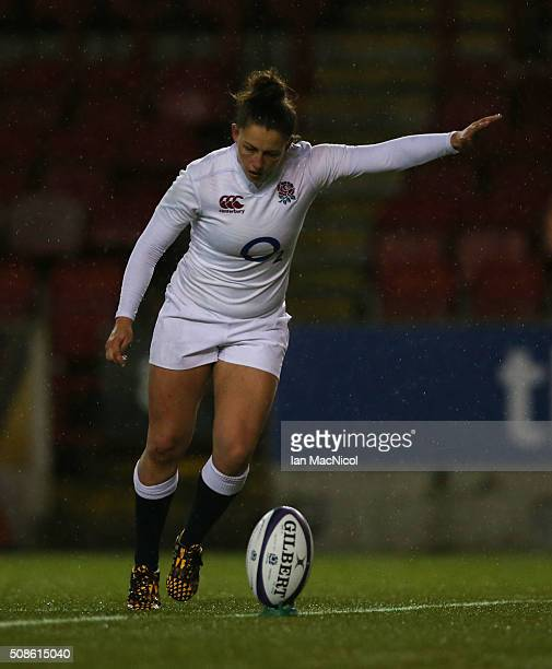 Lauren Cattell of England kicks a conversion during the Scotland Women and England Women Six Nations Championship match at Broadwood Stadium on...