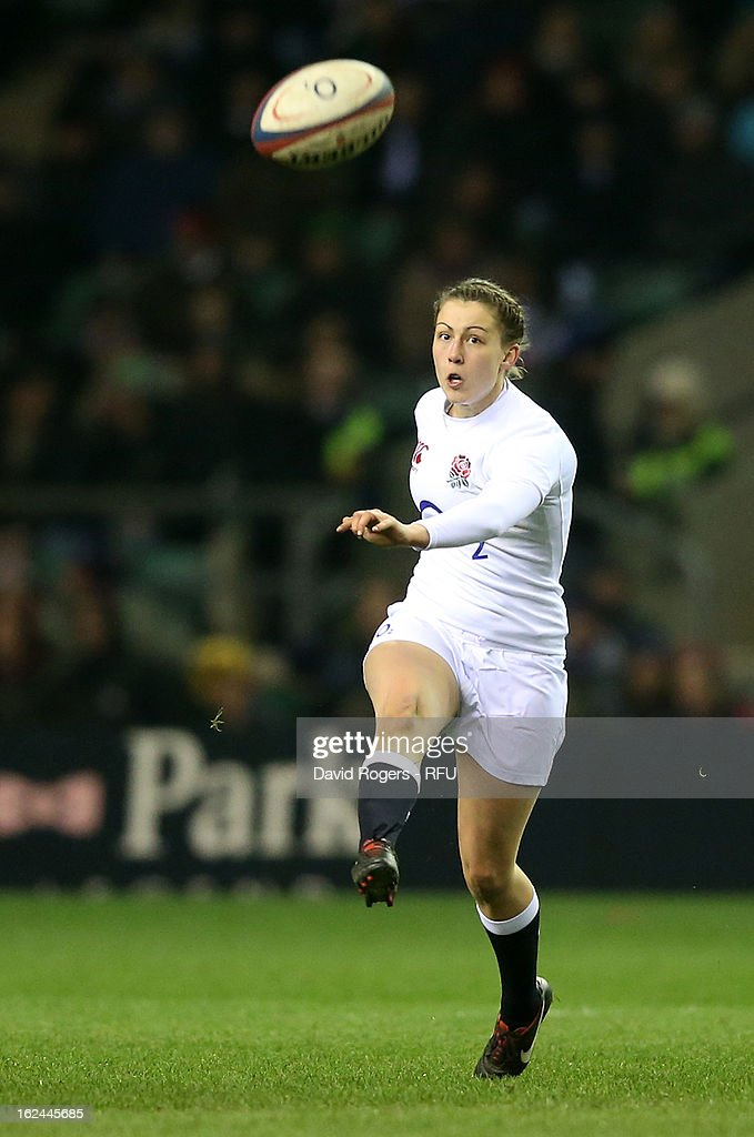 Lauren Cattell of England kicks down field during the Women's RBS Six Nations match between England and France at Twickenham Stadium on February 23, 2013 in London, England.