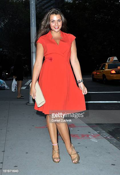 Lauren Cecchi seen outside the Cynthia Rowley show wearing a Calvin Klein dress Steve Madden shoes and an Aldo clutch on September 13 2012 in New...