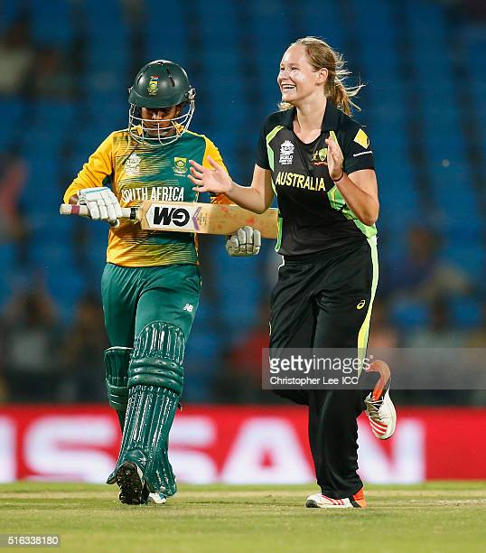 Lauren Cheatle of Australia celebrates getting the wicket of Trisha Chetty of South Africa during the Women's ICC World Twenty20 India 2016 Group A...