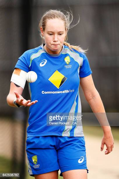 Lauren Cheatle prepares to bowl during a Southern Stars training session at Melbourne Cricket Ground on February 18 2017 in Melbourne Australia