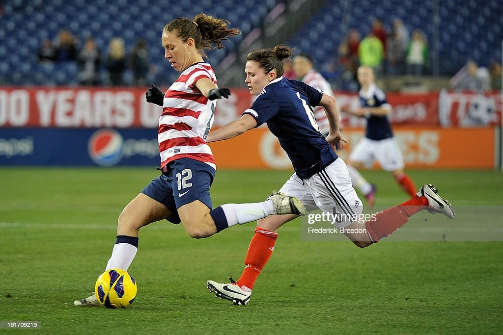 Lauren Cheney #12 of the U.S. Womens National Team plays against the Scotland Women's National Team at LP Field on February 13, 2013 in Nashville, Tennessee.