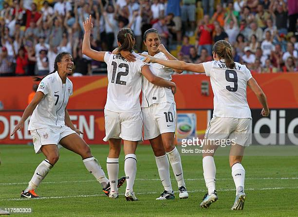 Lauren Cheney of USA celebrates the first goal with her team mates Shannon Boxx Carli Lloyd and Heather O Reilly during the FIFA Women's World Cup...