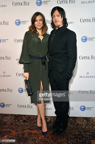 Lauren Cohan and Norman Reedus attend Capitol File's WHCD Weekend Welcome Reception with Cecily Strong at The British Embassy on April 24 2015 in...